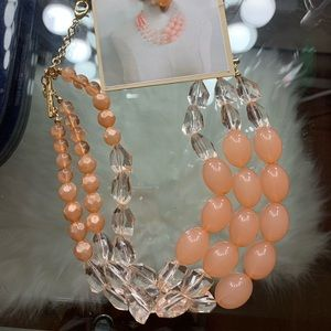 NEW pink faux pearl & diamond necklace